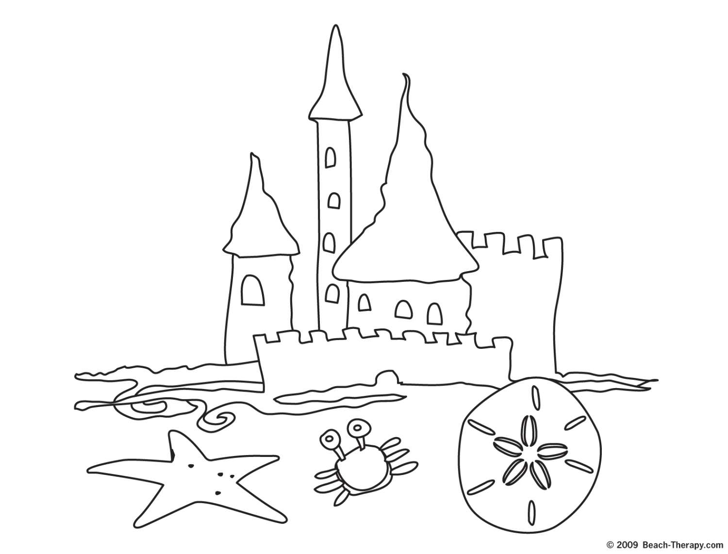 Printable coloring pages sand castle - Sand Castle Coloring Page