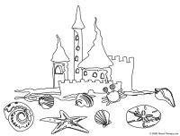Sand Castle Coloring Page Hard