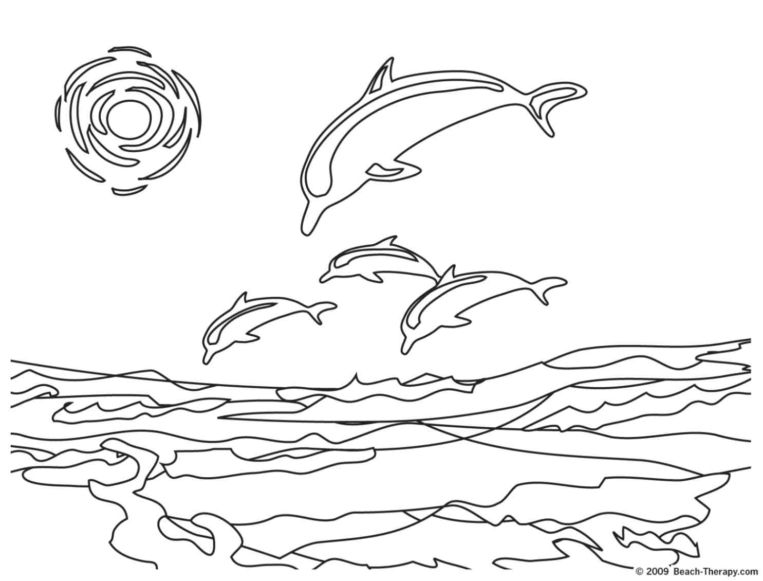 Dolphins Coloring Page Hard