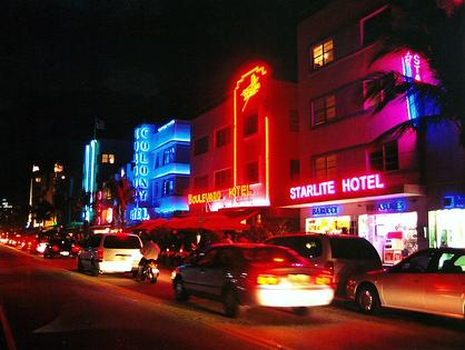 The Neon of South Beach at Night