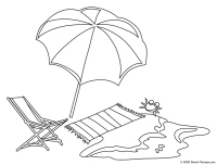 Beach Towel Coloring Page Easy