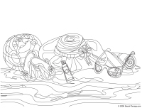 Beach Coloring Page Hard